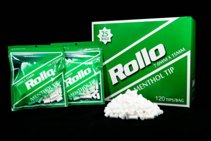 Cigarette Rolling Paper Menthol Filter Tips Slim Rollo Green 7mm x 15mm