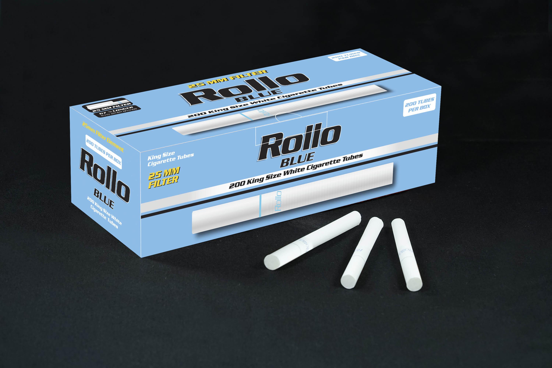 Cigarette Tubes Rollo Blue 200 CT 25mm filter length