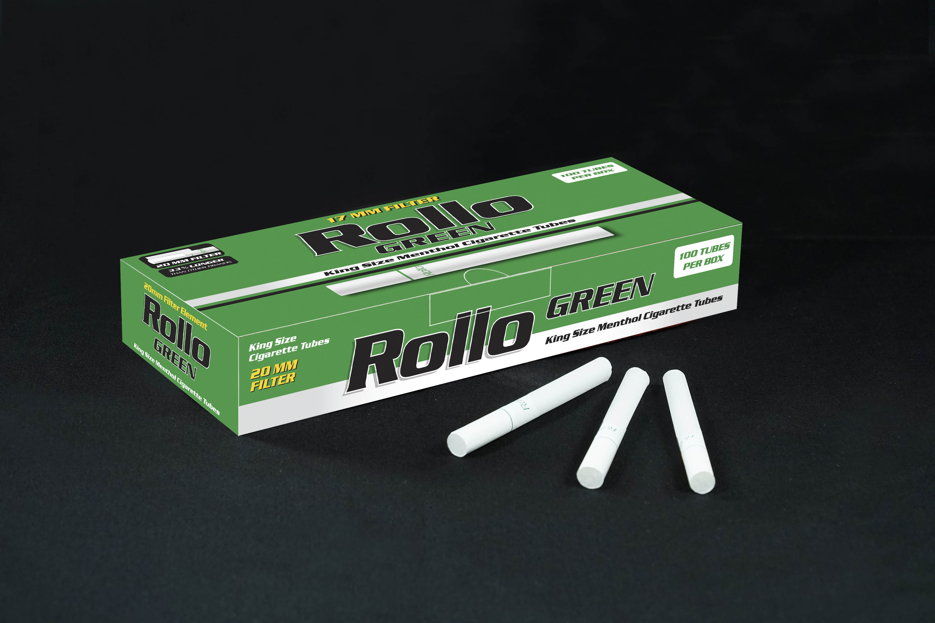 Menthol Cigarette Tubes Rollo Green 100 CT 20mm filter length