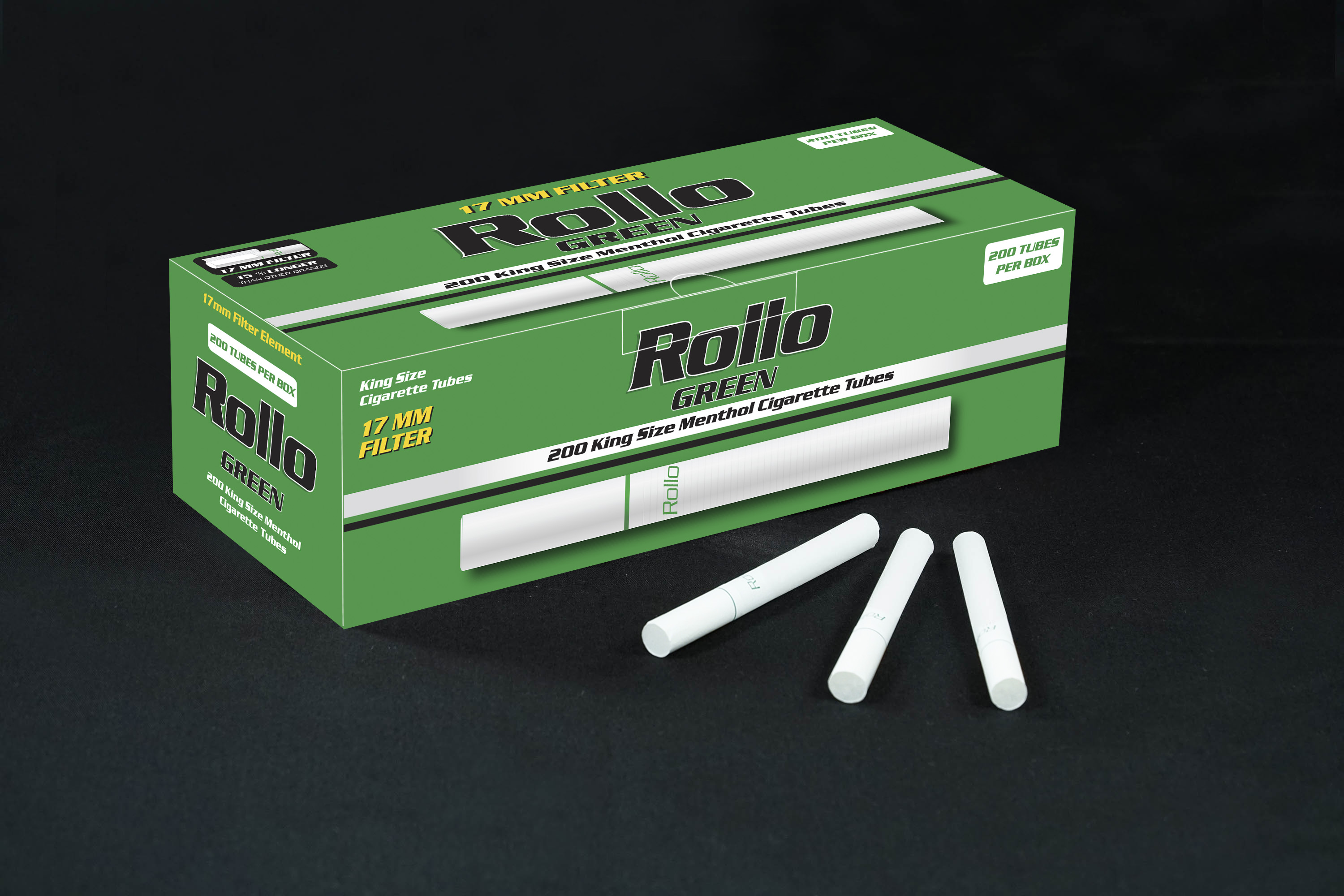 Menthol Cigarette Tubes Rollo Green 200 CT 17mm filter length