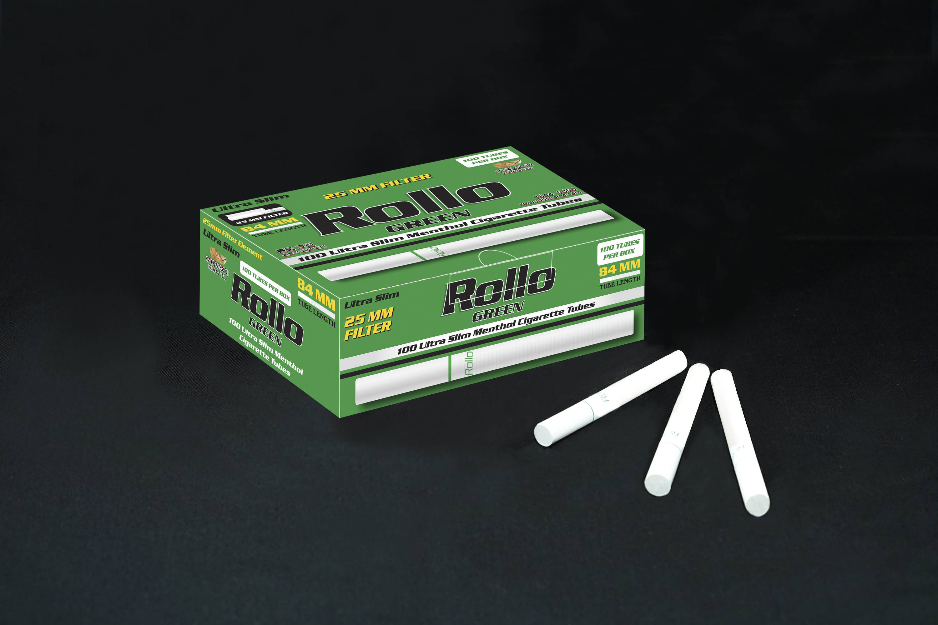 Menthol Cigarette Tubes Rollo Green Ultra Slim 100ct 25mm filter length