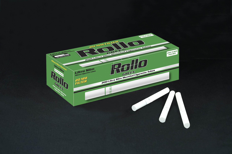 Menthol Cigarette Tubes Rollo Green Ultra Slim 200ct 20mm filter length