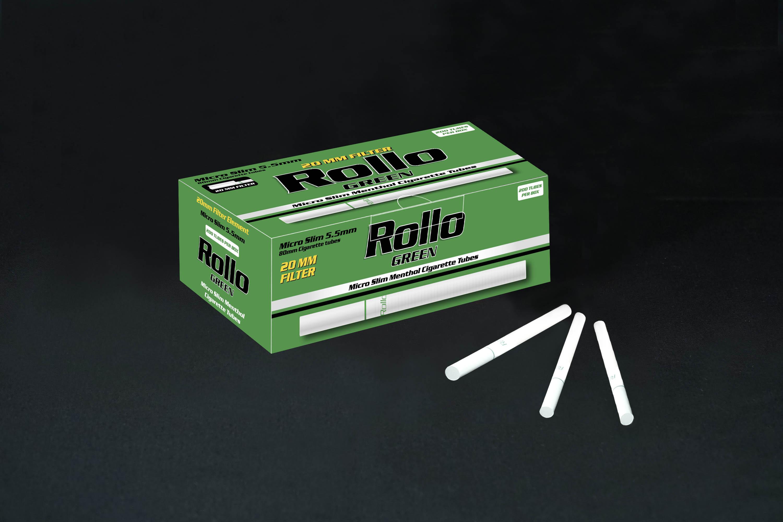Micro Slim Cigarette Tubes Rollo Green 200 CT