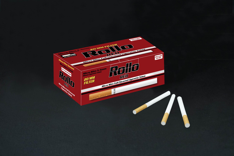 Micro Slim Cigarette Tubes Rollo Red 200 CT