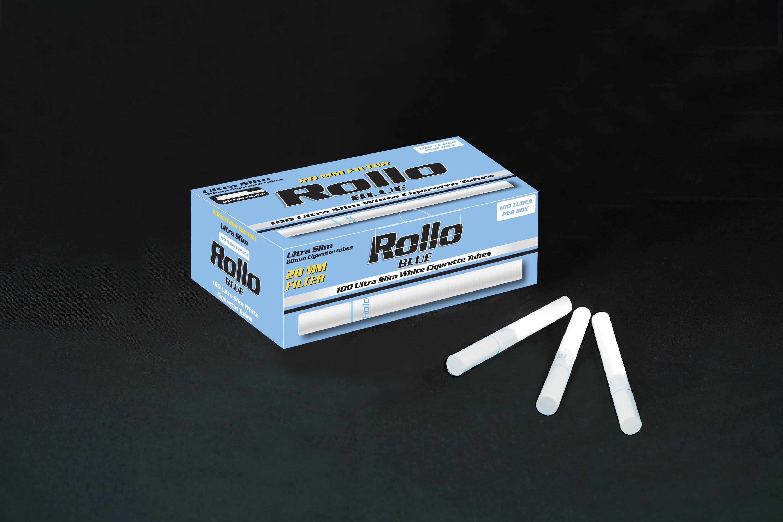 Ultra Slim Cigarette Tubes Rollo Blue 100 CT 20mm filter length