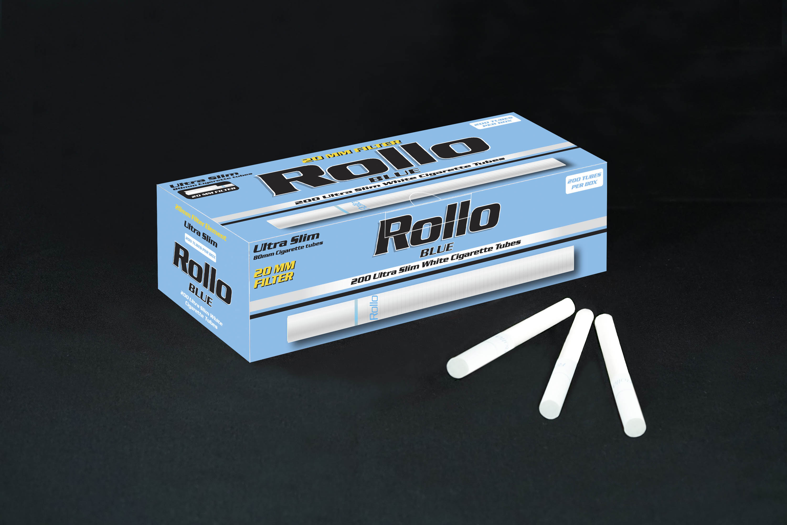 Ultra Slim Cigarette Tubes Rollo Blue 200 CT 20mm filter length