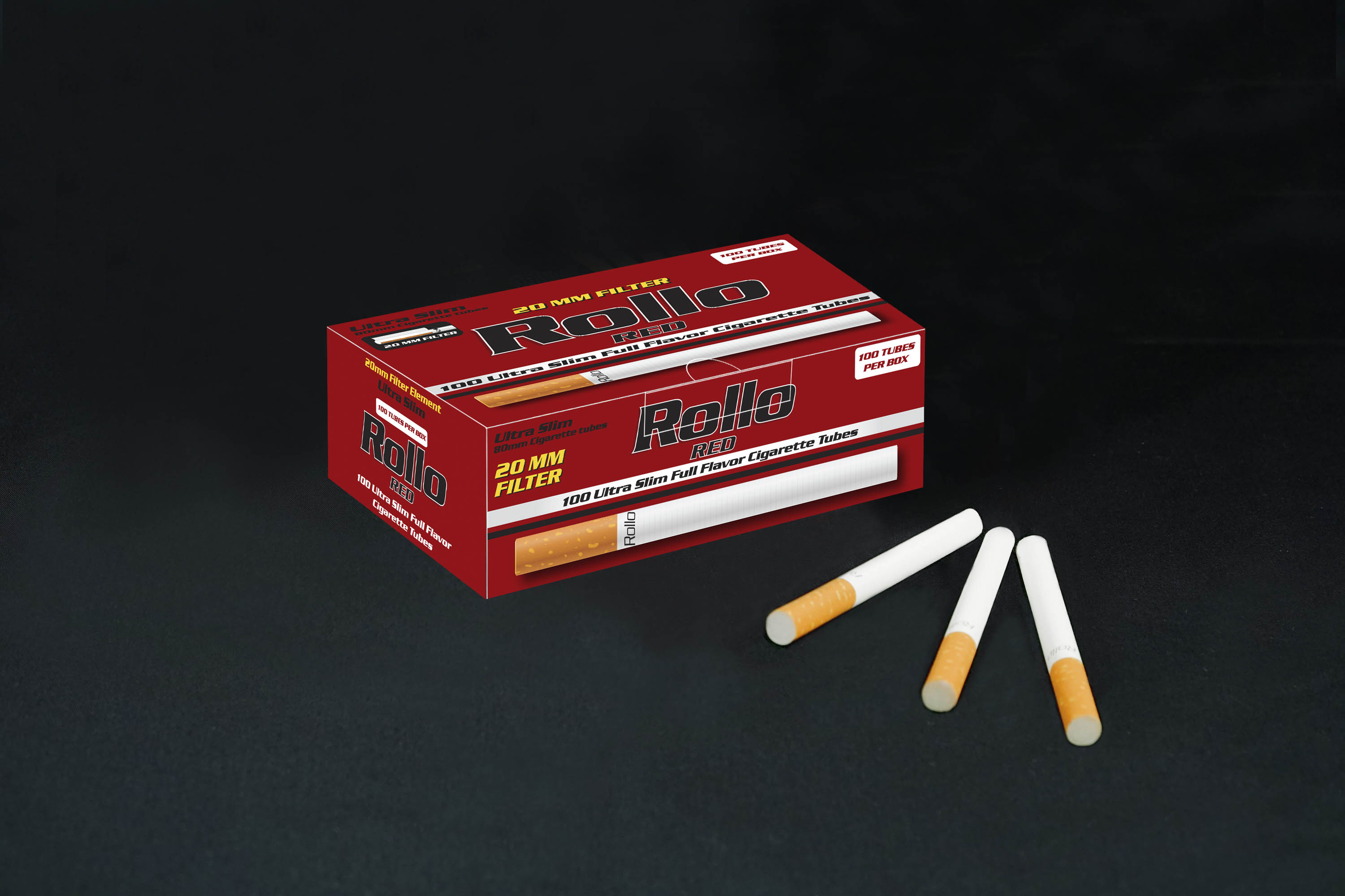 Ultra Slim Cigarette Tubes Rollo Red 100 CT 20mm filter length