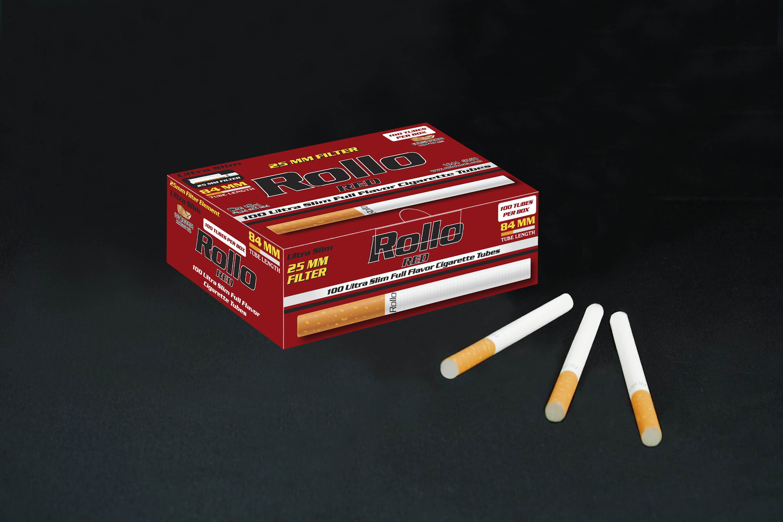 Ultra Slim Cigarette Tubes Rollo Red 100 CT 25mm filter length