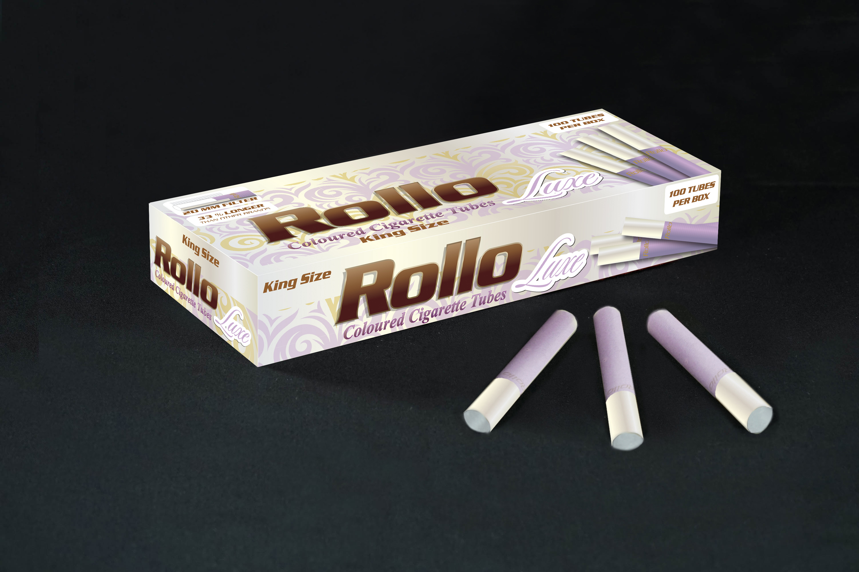 Violet Cigarette Tubes with Pearl Tipping Paper Rollo Luxe Violet 100 CT