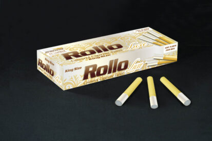 Yellow Cigarette Tubes with Pearl Tipping Paper Rollo Luxe Yellow 100 CT