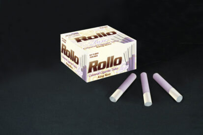 Violet Cigarette Tubes with Pearl Tipping Paper Rollo Luxe Violet 50 CT
