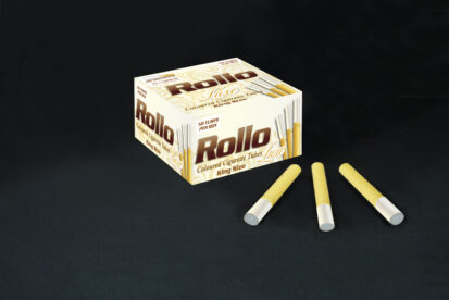 Yellow Cigarette Tubes with Pearl Tipping Paper Rollo Luxe Yellow 50 CT
